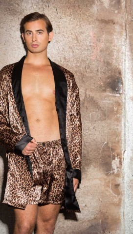 SILKY LEOPARD PRINT CHARMEUSE AND SATIN SMOKING JACKET