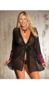 STRETCH KNIT AND TWO TONE LACE ROBE AND G STRING