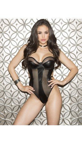 FAUX LEATHER THONG TEDDY WITH VENICE APPLIQUE