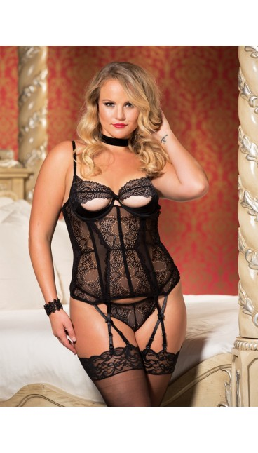 STRETCH LACE AND MESH PEEK-A-BOO BUSTIER