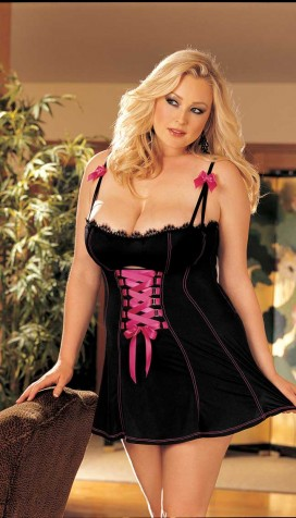 STRETCH KNIT AND LACE TRIM CHEMISE