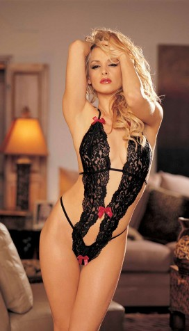 STRETCH LACE PEEK-A-BOO TEDDY WITH BOWS