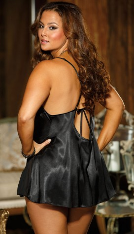 STUNNING AND ELEGANT CHARMEUSE AND CUT-OUT LACE CHEMISE