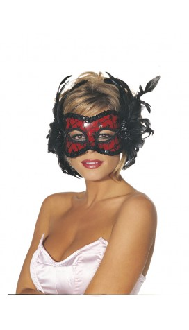RED AND BLACK VENETIAN STYLE LACE HALF MASK