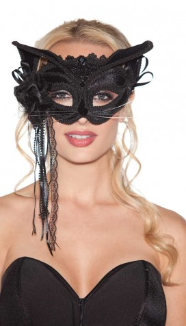 BLACK VELVET CAT MASK