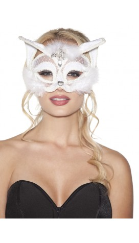 WHITE VELVET CAT MASK