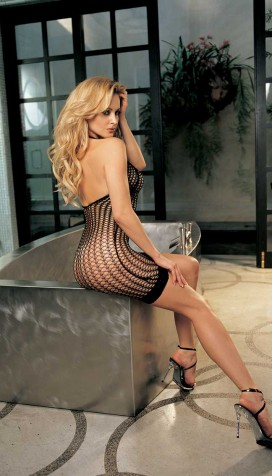 STRETCH HONEYCOMB FISHNET DRESS WITH STRETCH LACE HEM