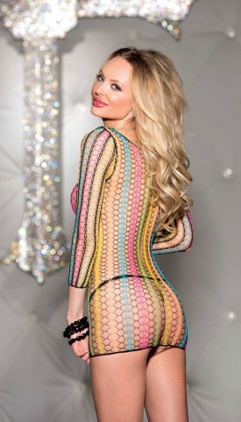 Beautiful multicolor net top with 3/4 sleeves